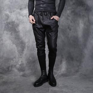 冬季 小脚修身 子 弹力松紧腰做旧碎纹磨砂潮男加绒保暖长裤 皮裤 男士
