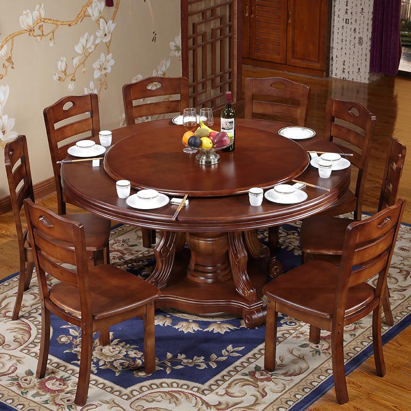 实木圆形餐桌椅组合8人中式带转盘圆餐桌饭店餐厅10人橡木大圆桌