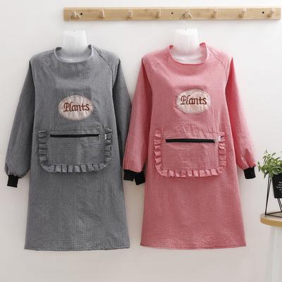 纯棉家用厨房罩衣大人女时尚围裙长袖防水防油可爱日系外套工作服