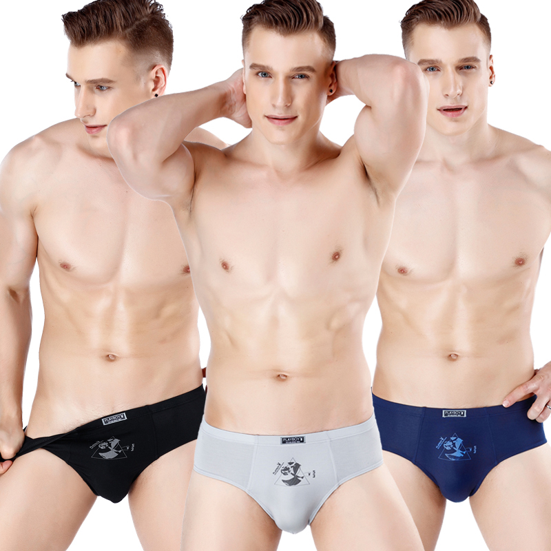 Playboy 2 boxed mens underwear mens briefs pure cotton youth breathable sexy ice bottom underpants