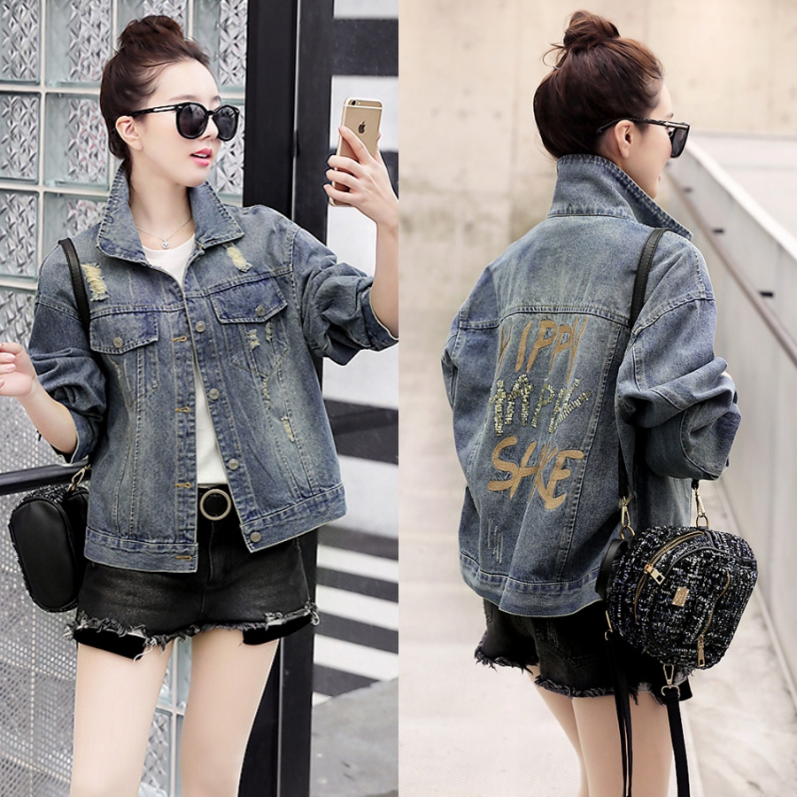Spring and Autumn New Korean loose casual shirt Lapel Sequin perforated denim jacket jacket for women s