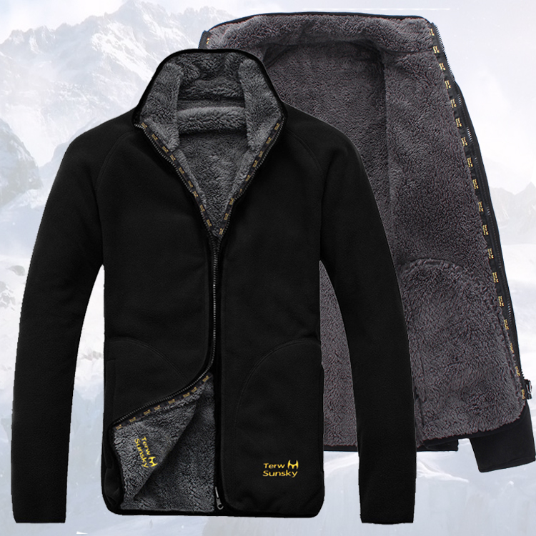 Outdoor Plush in autumn and winter wear warm fleece jacket on both sides mens cold resistant casual sweater cardigan