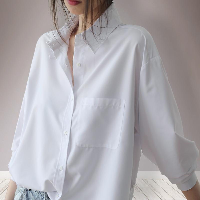 2019春新款白色韩版心机衬衫女设计感超仙小众上衣宽松白衬衣春季(非品牌)