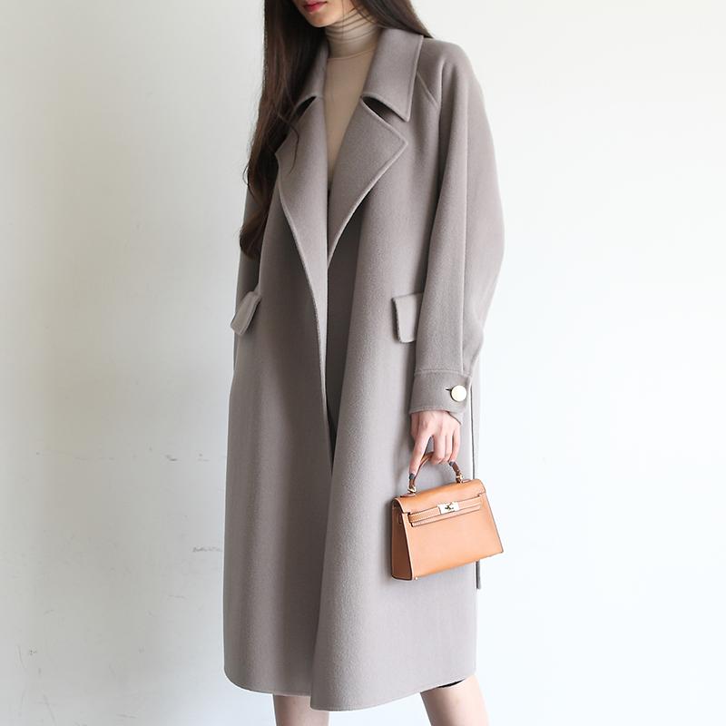 韩国新款毛呢外套女中长款韩版chic双面呢大衣女秋冬女装D130