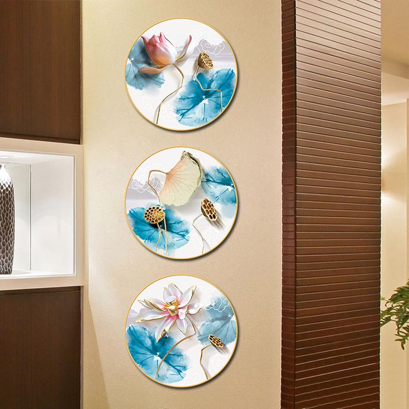 荷花创意温馨贴画中国风墙贴墙纸自粘书房卧室房间背景墙壁装饰品