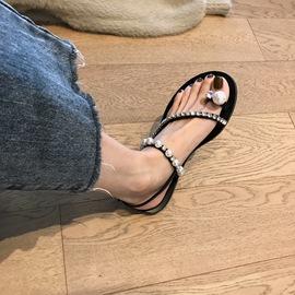 Boccalook 水钻珍珠夹趾平底凉鞋夏季韩版气质休闲仙女鞋后空单鞋图片
