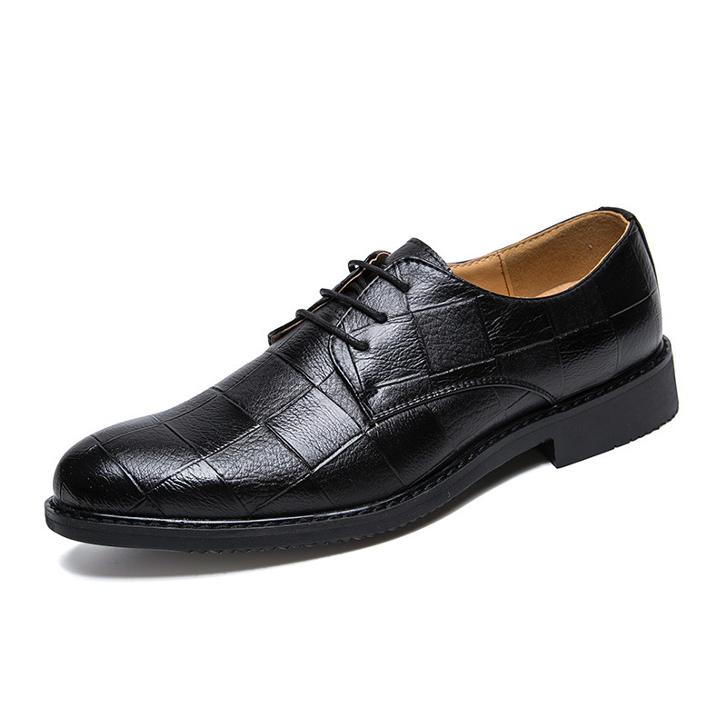 New fashion mens leather shoes pointed lace up breathable mens single shoes business dress casual shoes 37-44 43