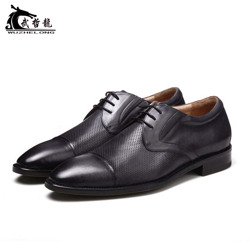 Goodyear business dress custom shoes, Derby shoes, British lace up, imported calfskin, handmade casual mens shoes
