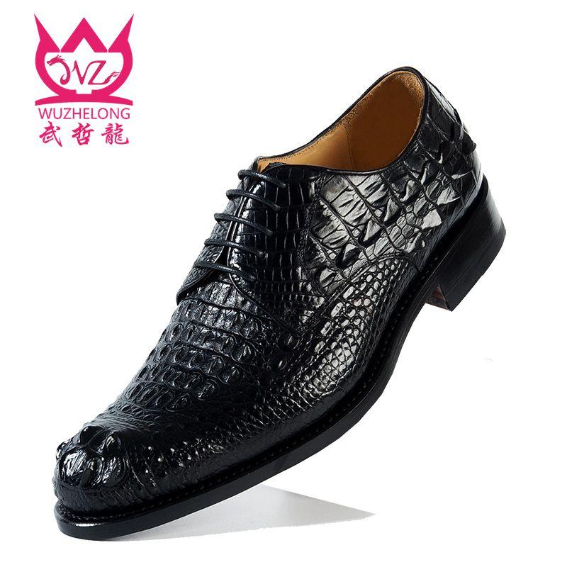 意大利固特异手工定制鳄鱼皮商务正装皮鞋男真皮系带牛津鞋休闲鞋