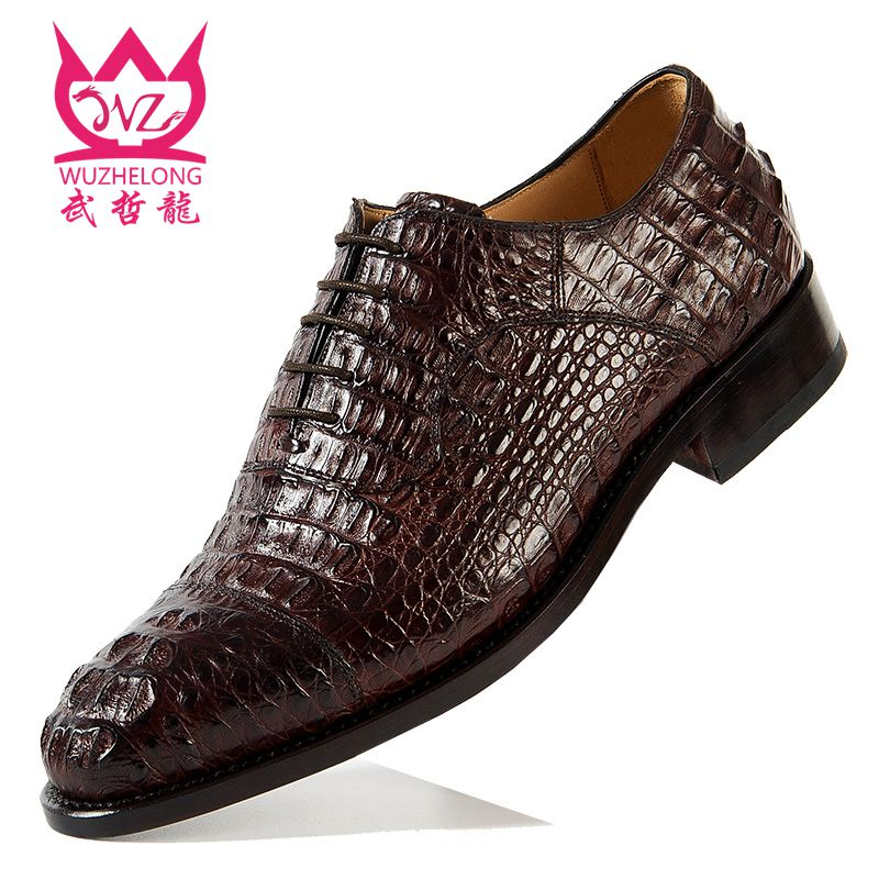 Goodyear hand made crocodile leather shoes lace up private customized high-end formal business leisure Oxford Shoes