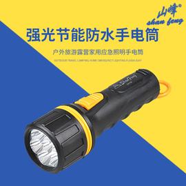 山峰7LED强光手电筒装2节一号干电池可更换家用户外照明老式防水