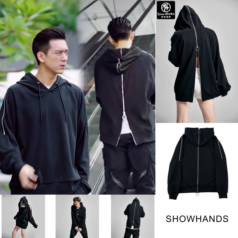 Showlands Soha fashion brand Li Xian boyfriends same Hoodie zipper decoration off shoulder loose Hoodie