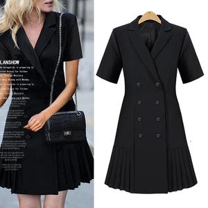 欧美街拍风气质雪纺中长款小西装双排扣短袖下摆百褶修身连衣裙
