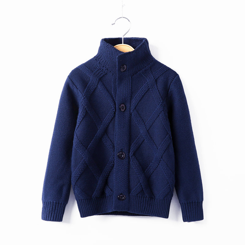 High neck sweater cardigan autumn and winter middle school childrens sweater childrens mens sweater Plush childrens clothes thickened top sweater