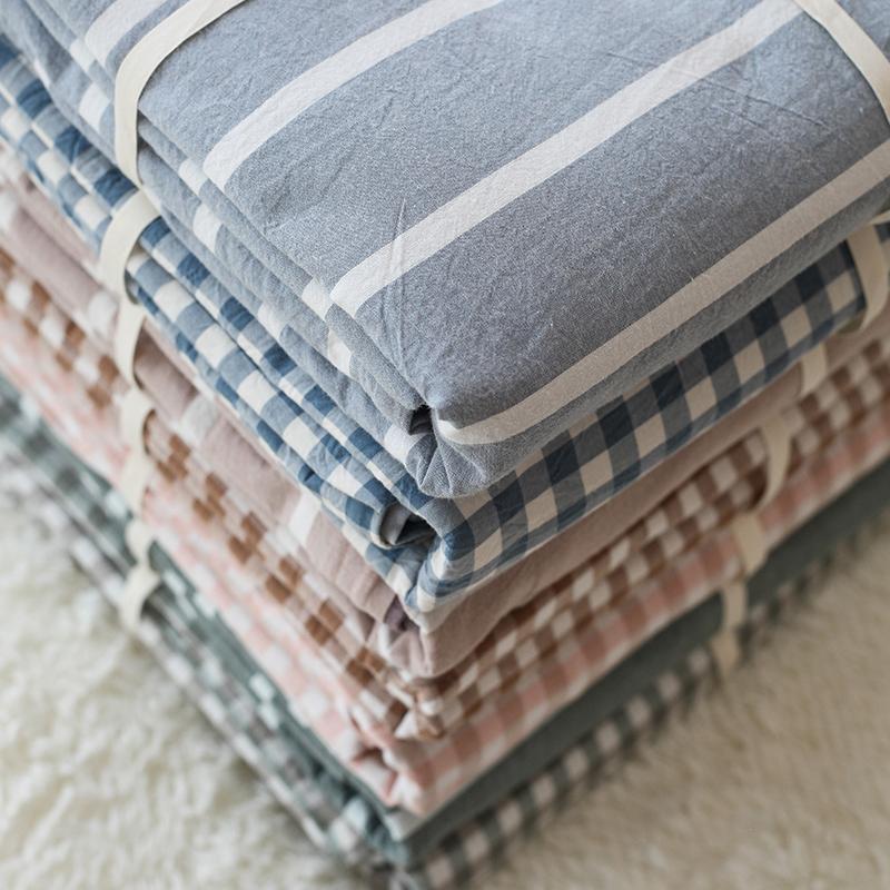 床單日式簡約格子被單女1.8m良品水洗棉床單單件純棉床笠單人雙人