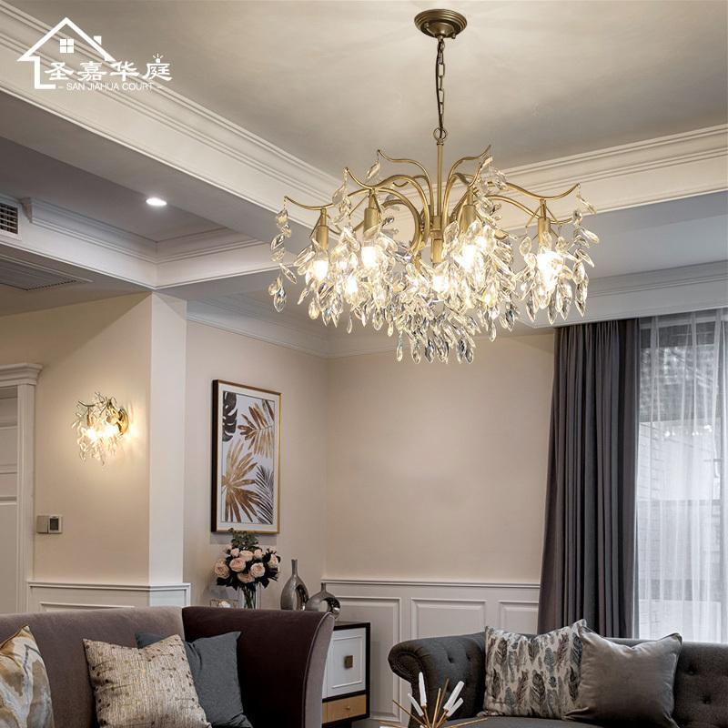 リビングランプアメリカーノライト式水晶灯フレンチペンション吊灯寝室灯デザイナーの吊灯創意全銅灯