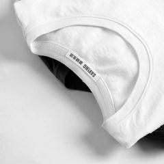 基础生活夏装简约纯色白色纯棉t恤女短袖女装圆领宽松打底体恤衫