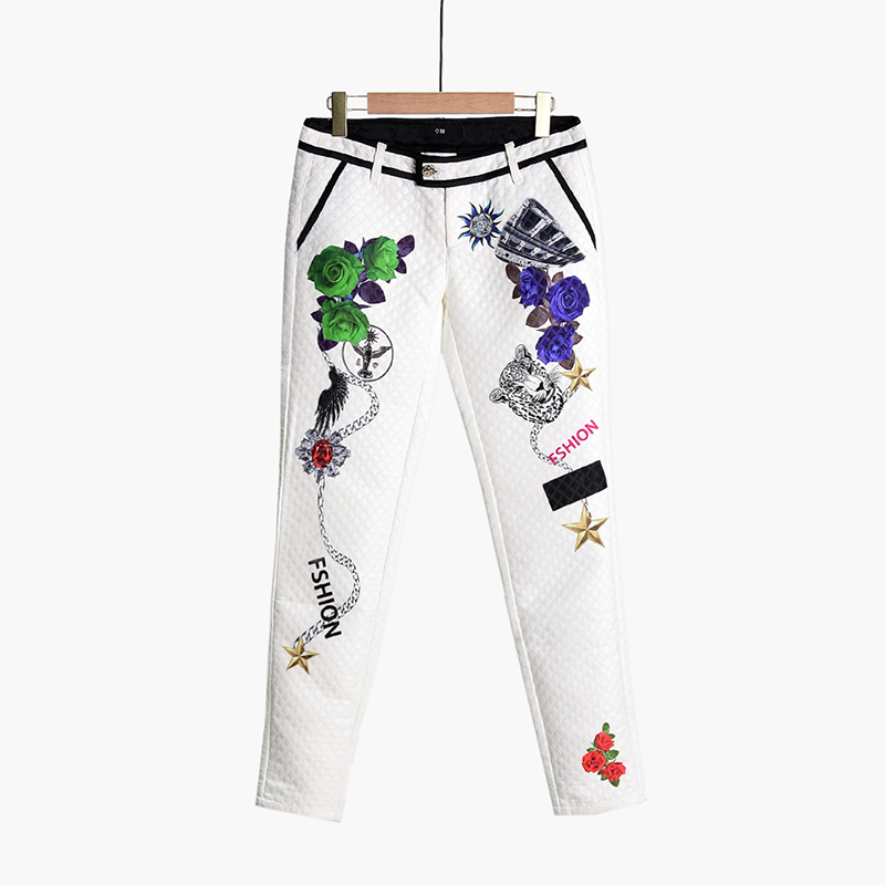 [40% off] high end gx0p0048 rhomboid three dimensional texture multi element printing low waist leisure pants