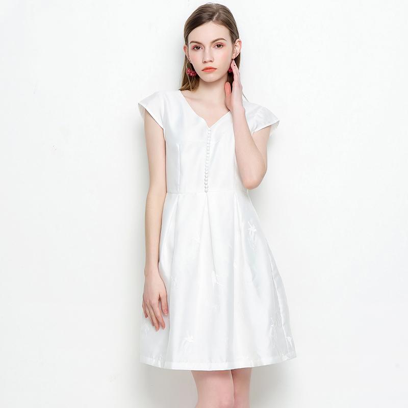 杭派轻熟女装 ZG0011 修身 V领 简约 连衣裙 4.11夏