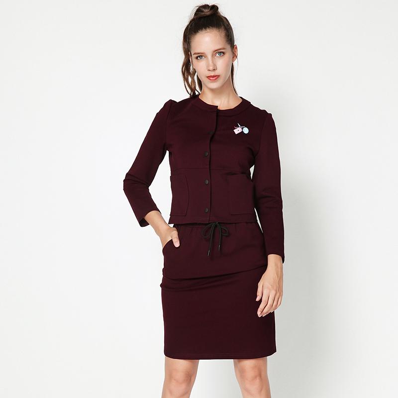 9魅HH8722棒球领外套+松紧腰半身裙专柜折扣女装套装女秋2018新款