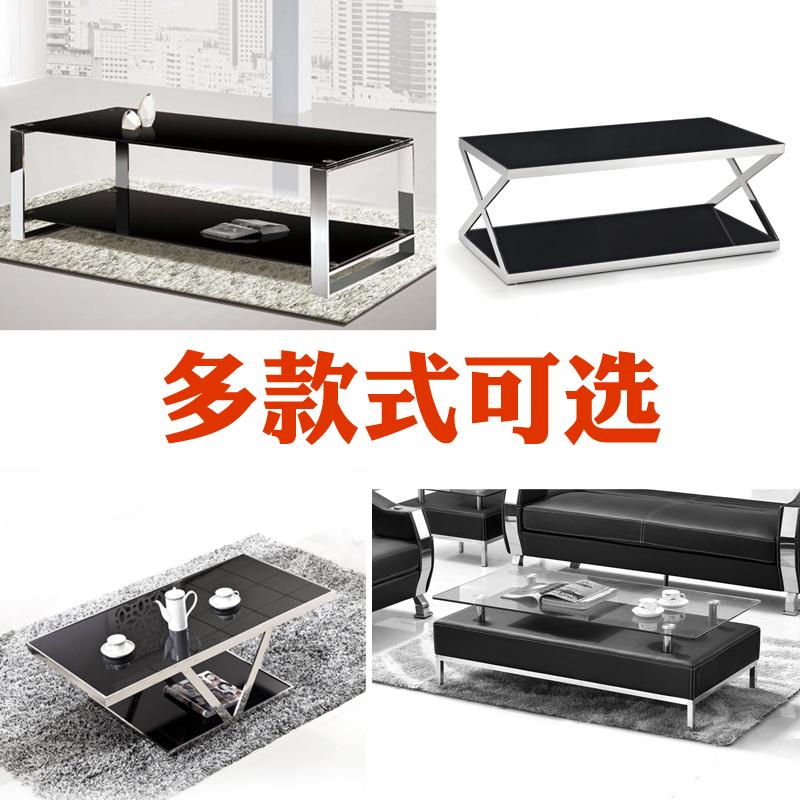 Офис кофейный столик диван сочетание рамы из нержавеющей стали сборка закалённое стекло двойной сторона кофейный столик простой Лай сильный