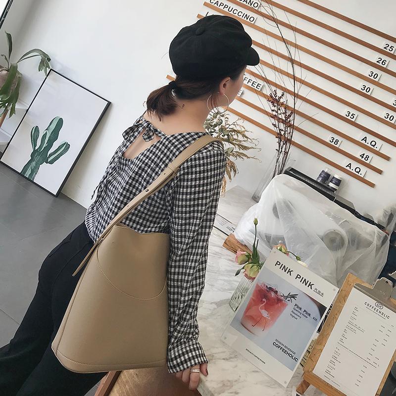 自制大码女装2018新款长袖上衣V领显瘦背后系带复古百搭格子衬衫