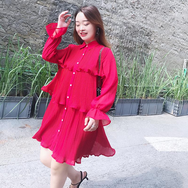 自制款胖仙女大码女装连衣裙2018夏装新款压褶重工显瘦百搭雪纺裙