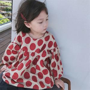 童装2020春秋款儿童韩国女童装森系腔调圆点娃娃衫泡泡袖长袖上衣