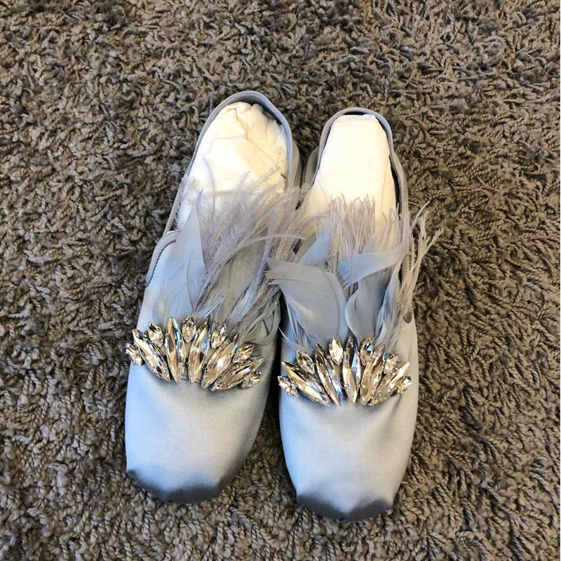 Silk flat shoes water drill shallow mouth ballet shoes 2020 new one foot round head flat heel leather single shoes women