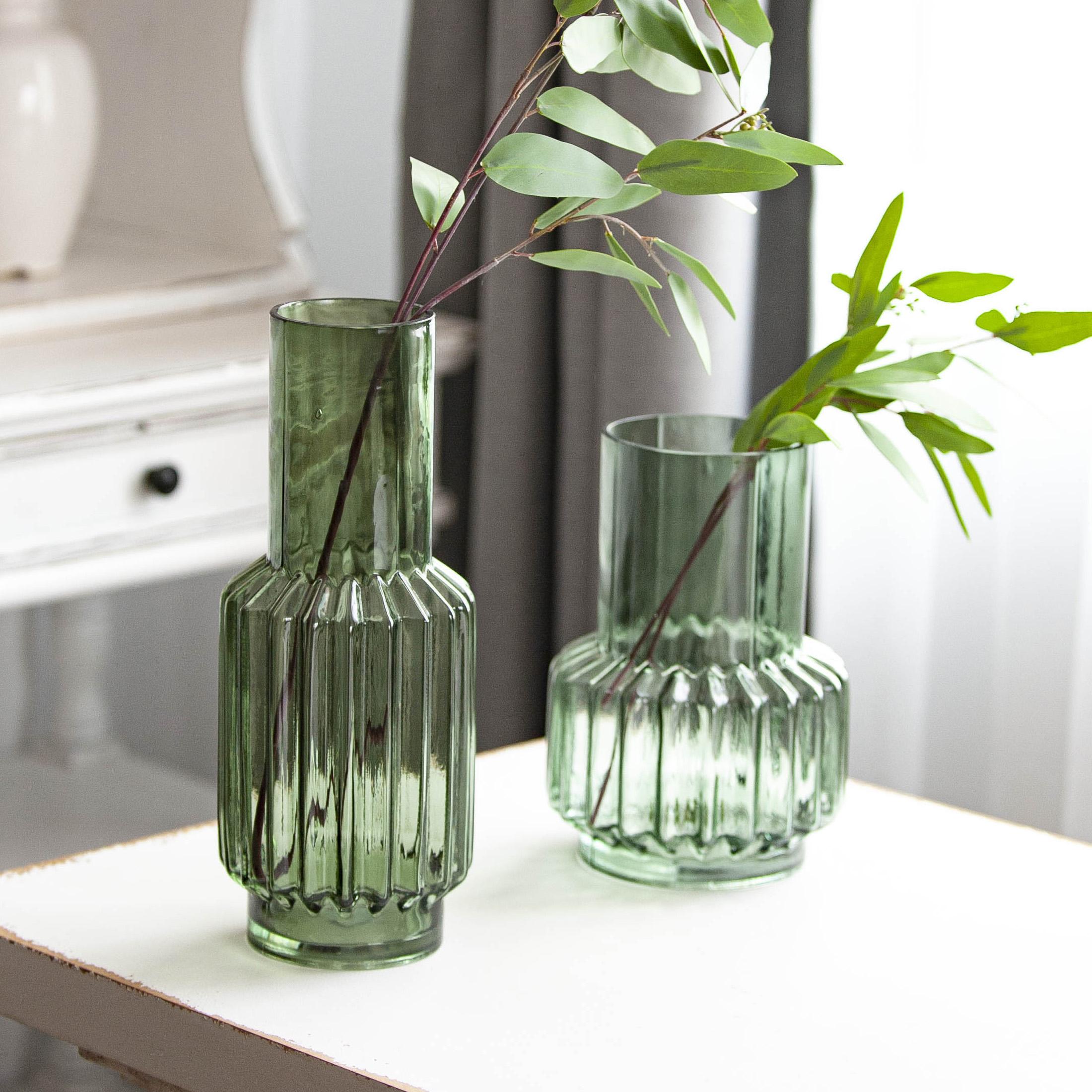 现代轻奢玻璃花瓶摆件 家居装饰品酒店样板间花器餐桌客厅插花瓶
