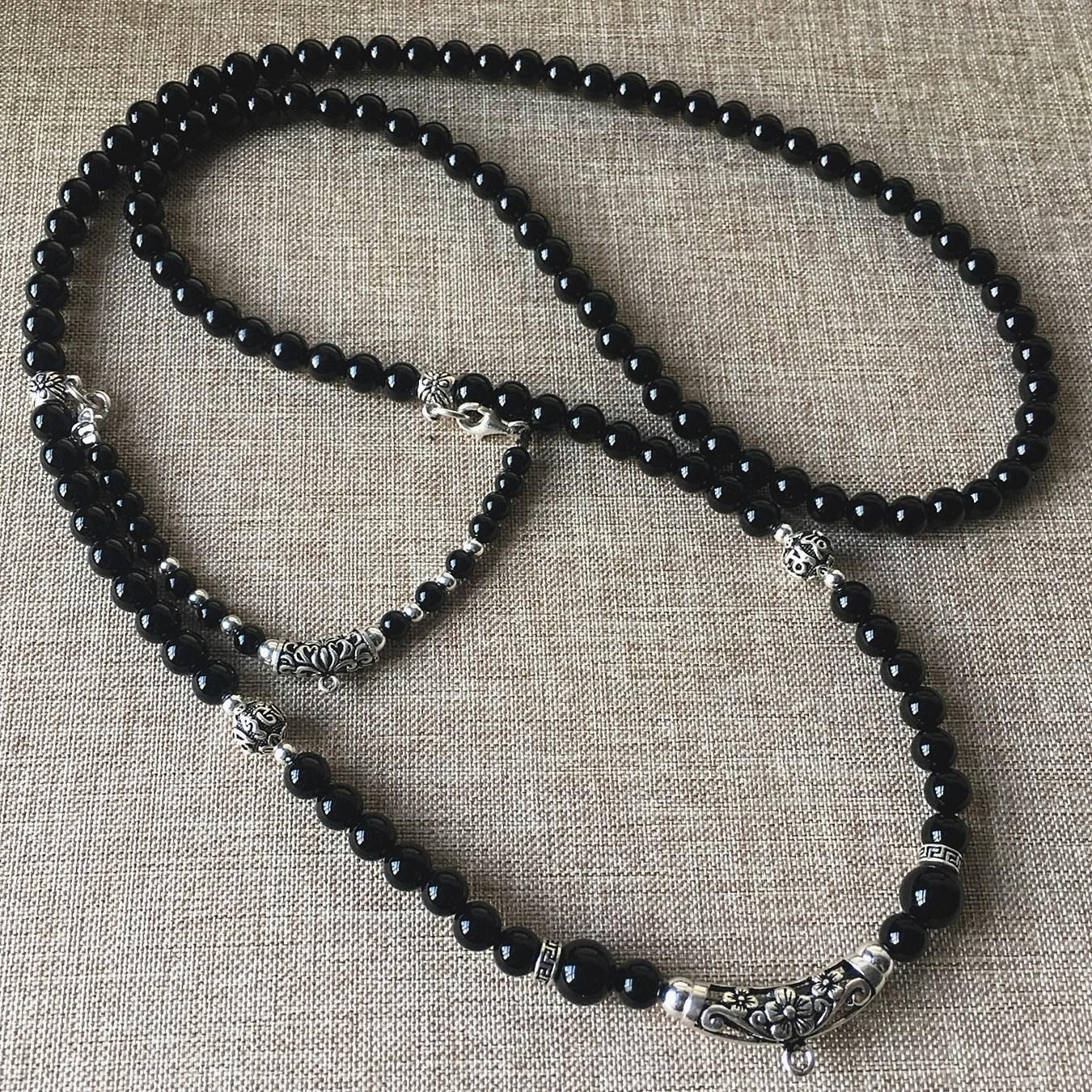 黑玛瑙项链s925纯银泰银配件泰国佛牌双层毛衣挂链可定制其他款式