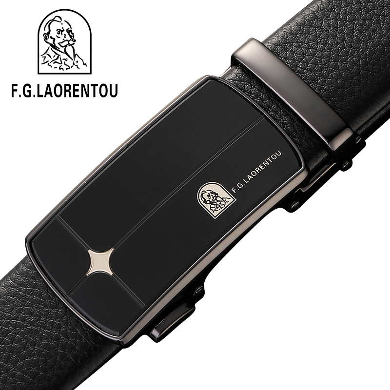 Leather belt mens leather automatic mens pure leather middle age wide belt Korean business leisure youth trend belt
