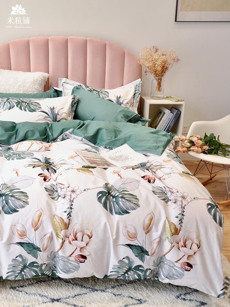 美式田园60支双面长绒棉四件套纯棉全棉裸睡双人床上用品床单1.8m