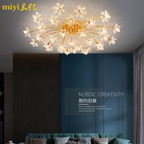 后现代轻奢水晶吸顶灯创意简约金色圆形主卧室餐厅客厅蒲公英灯具