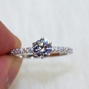 s925纯银80分锆石仿真钻微镶女戒指