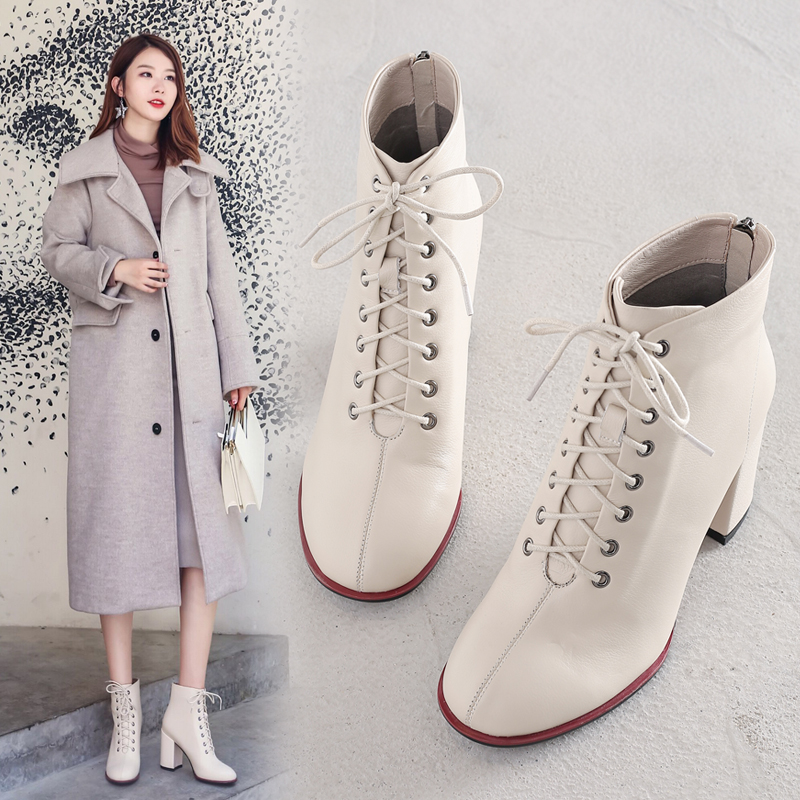 2020 autumn new Korean version of leather thick-heeled Martin boots lace up ankle boots high heel women boots and ankle boots single boots