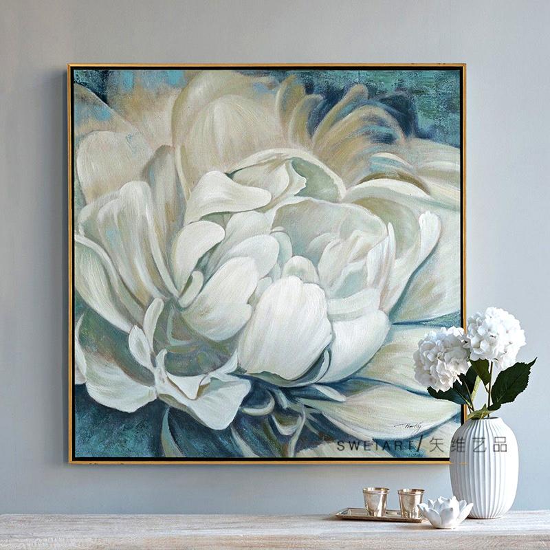 纯手绘油画牡丹花卉现代轻奢挂画限8000张券