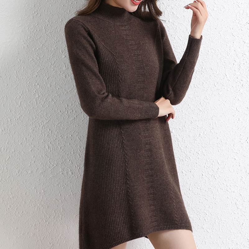 Flying lady 2020 new woolen sweater womens half high neck medium length yak cashmere sweater with warm bottom and thick inner layer