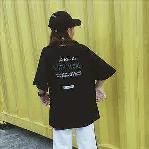 5887#實拍2019短袖新款ulzzang中長款bf風寬松韓版學生上衣服潮