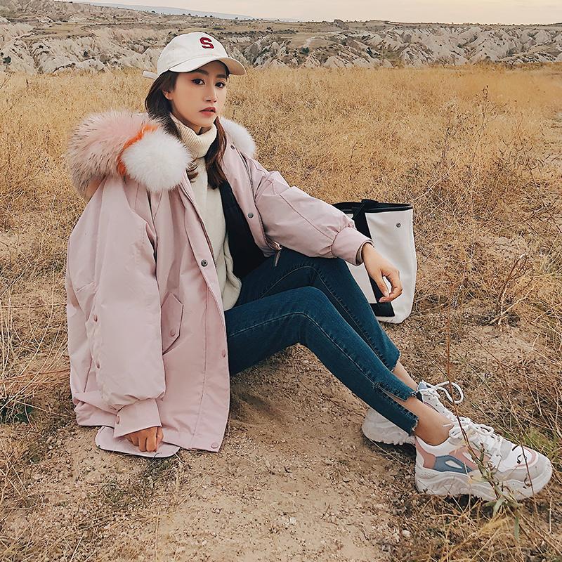 2018冬双十二主推韩版彩色拼接大毛领棉衣8222-M1901-P170-控238