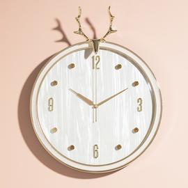美式轻奢北欧餐厅客厅挂钟家用时尚钟饰创意钟表大气挂表时钟静音