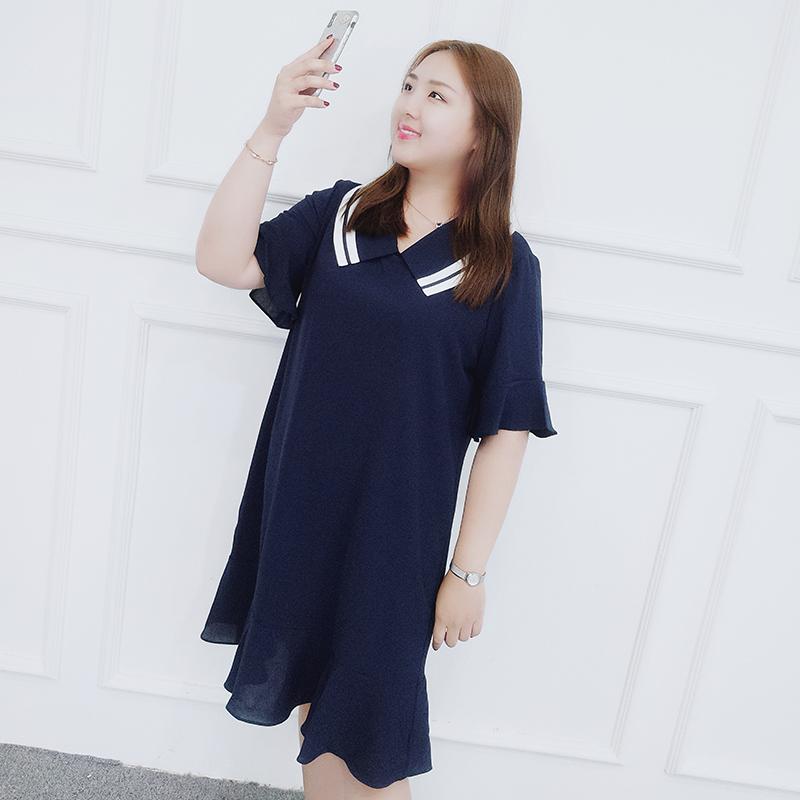喵喵大码女装2018胖mm夏装新款海军领日系学院风荷叶边减龄连衣裙