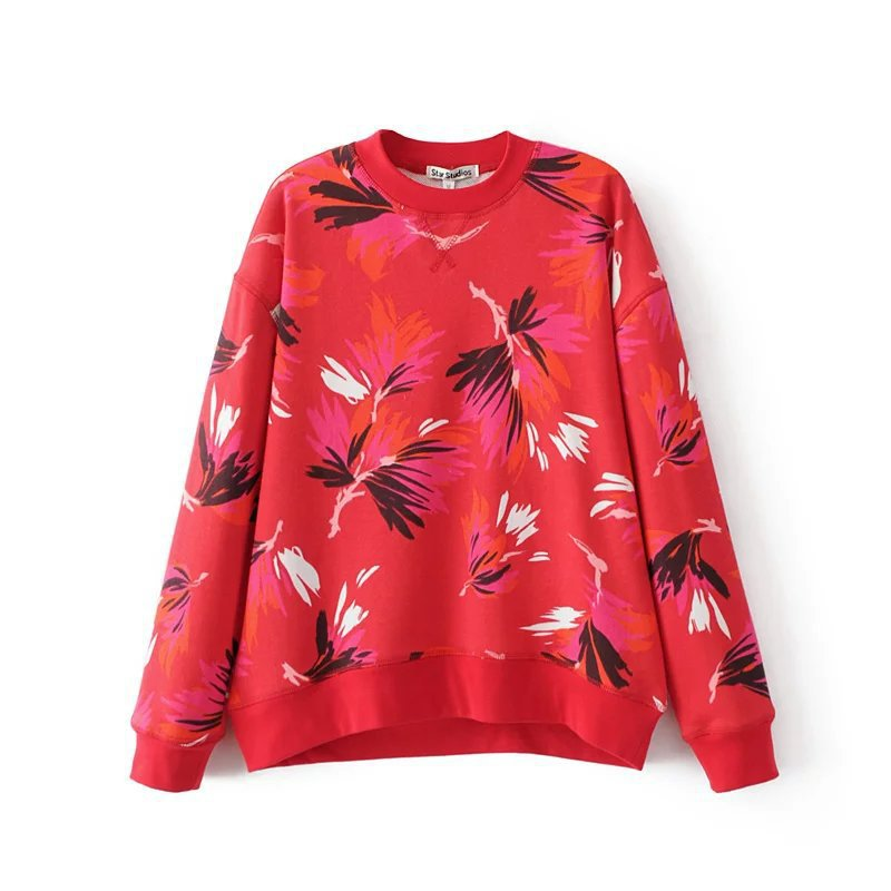 European and American style spring and autumn women's casual wild red print long-sleeved hedging loose sweater blouse