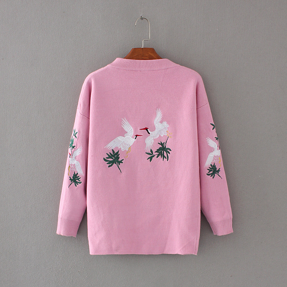 2017 spring new Korean fashion crane embroidery sweater wild coat blouse