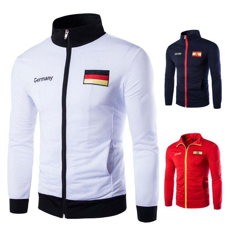 Foreign trade selling sports jacket Germany Spain embroidery design casual sweater factory outlets