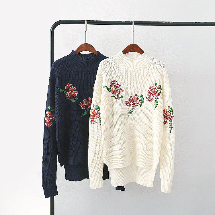 European autumn and winter idyllic wind flower embroidery turtleneck sweater long before short-sleeved sweater women