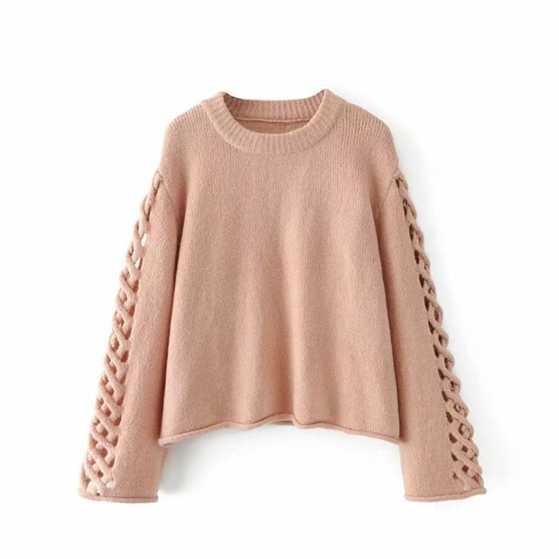 Spain original single sweater 2017 autumn and winter new women hollow long-sleeved crew neck soft pullover women