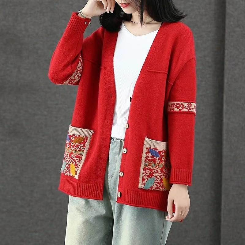 Jiawens new autumn and winter core spun national style knitted cardigan womens Embroidery loose V-Neck Sweater thick coat