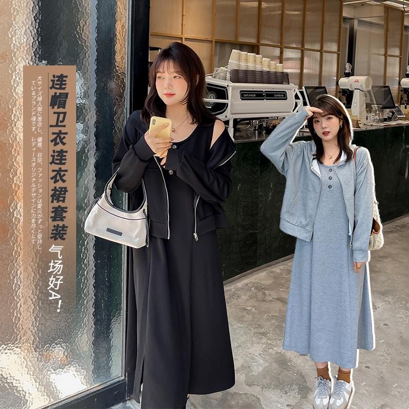 2021新款韩版大码女装200斤休闲两件套胖mm加肥卫衣连衣裙套装