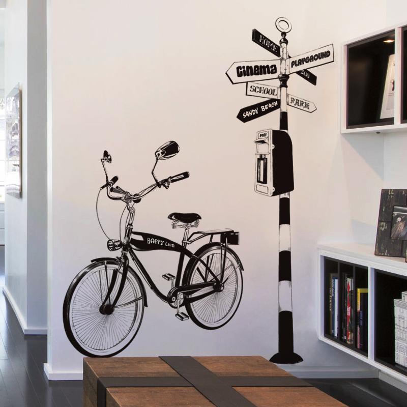 创意客厅沙发背景装饰手绘单车贴画个性书房走廊玄关自行车墙贴纸